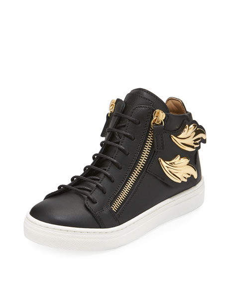 Giuseppe Zanotti Kids' Unisex Wing Leather Sneaker, Black,