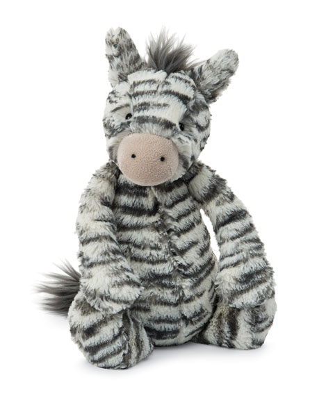 Medium Bashful Zebra Plush Animal, Gray/White