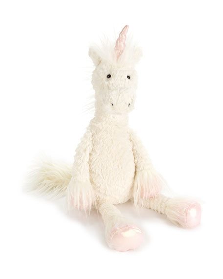Dainty Unicorn Plush Animal, Cream