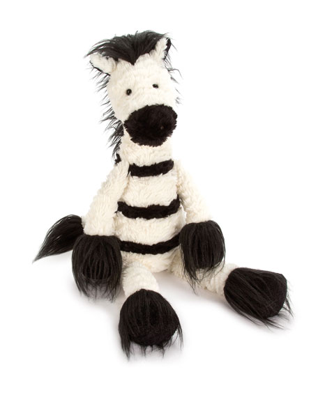 Dainty Zebra Plush Animal, White/Black
