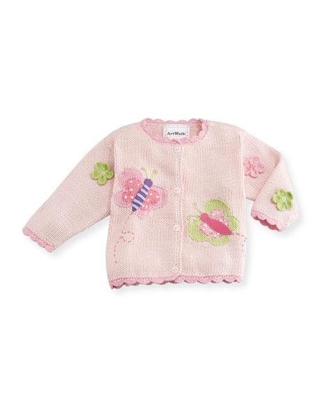 Art Walk Butterflies Cotton Button-Front Sweater, Pink, Size 12-24 Months