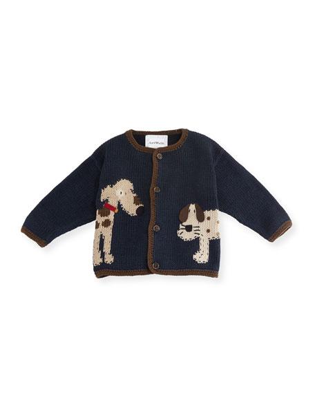 Art Walk Woof Woof Cotton Button-Front Sweater, Blue, Size 12-24 Months