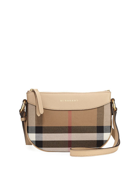 Burberry Girls' Coca Check Canvas Leather-Trim Crossbody Bag