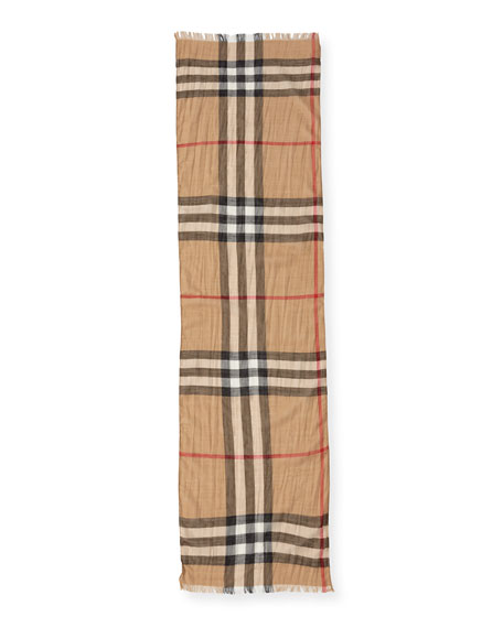 Burberry Kids' Check Gauze Scarf