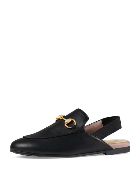 Gucci Princetown Junior Leather Horsebit Mule Slide, Kids'