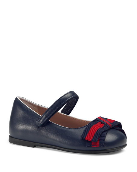 Gucci Leather Ballet Flats w/ Web Bow, Toddler