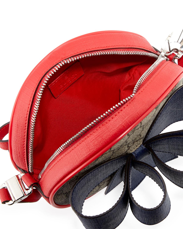 4f528a8e8a84 Gucci Kids' GG Supreme Canvas Crossbody Bag w/ Bow Detail   Neiman Marcus