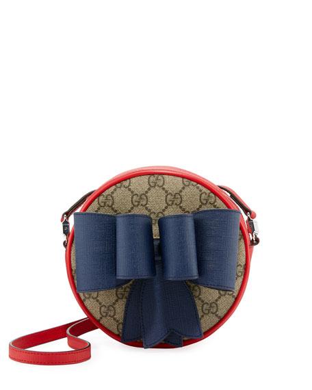 Kids' GG Supreme Canvas Crossbody Bag w/ Bow Detail