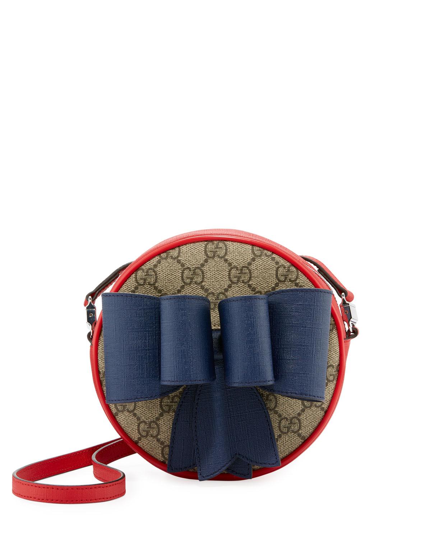 b6f219ea298 Gucci Kids  GG Supreme Canvas Crossbody Bag w  Bow Detail