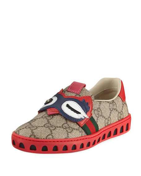 Gucci GG Supreme Canvas Sneaker w/ Owl Face,