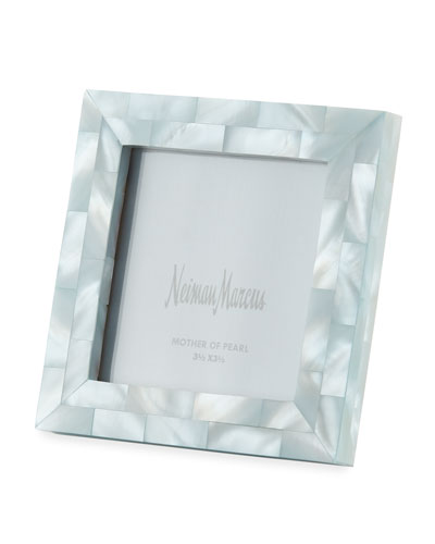 Mother-of-Pearl Picture Frame  Blue  3.5 x 3.5