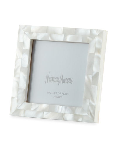 Mother-of-Pearl Picture Frame  White  3.5 x 3.5