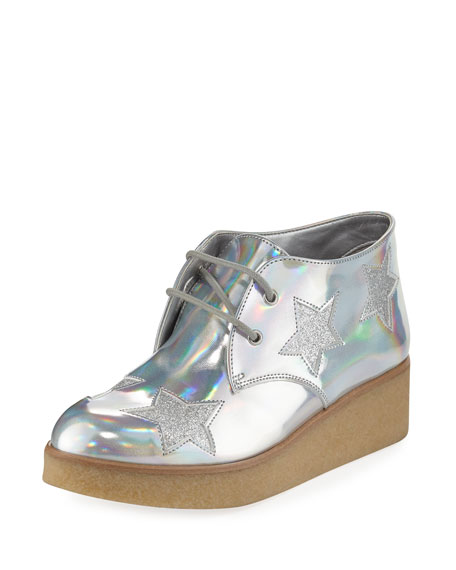 Stella McCartney Wendy Star-Patched Platform Sneaker, Sizes