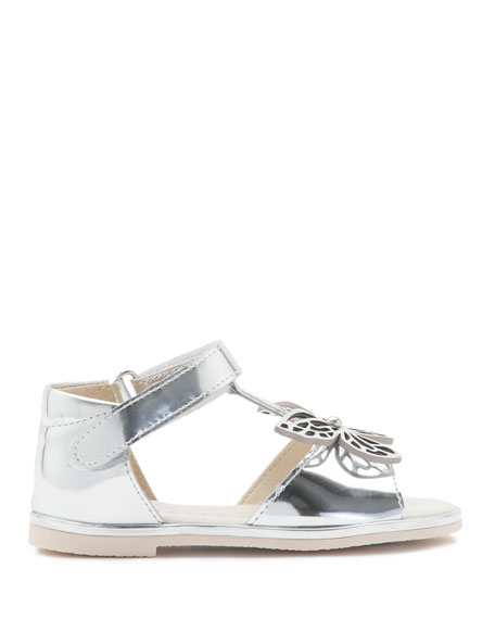 Flutterby Metallic Leather T-Strap Flat Sandals, Silver, Toddler/Youth Sizes 5T-2Y