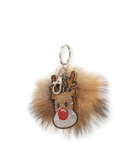 Bari Lynn Girls' Reindeer Fur-Pom Key Chain