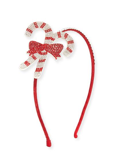 Girls' Crystal Candy Cane Headband