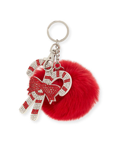 Girls' Candy Cane Fur-Pom Key Chain