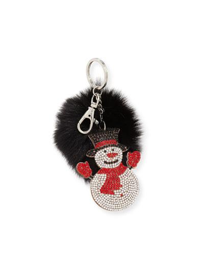 Girls' Snowman Fur-Pom Key Chain