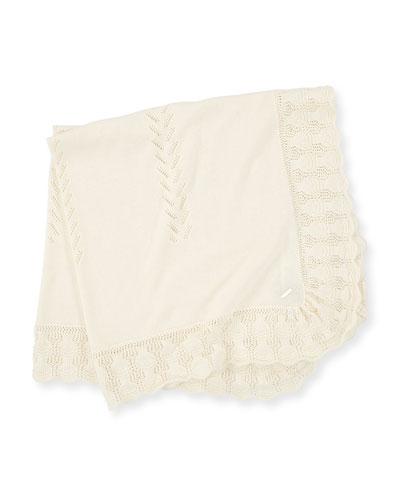 Knit Baby Blanket w/ Scallop Crochet Trim