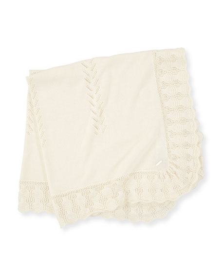Pili Carrera Knit Baby Blanket w/ Scallop Crochet