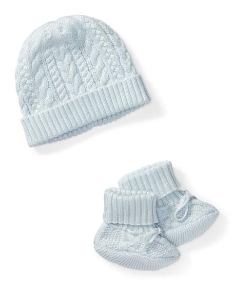 Ralph Lauren Childrenswear Cotton Accessory Set, Blue, Size Newborn-9 Months