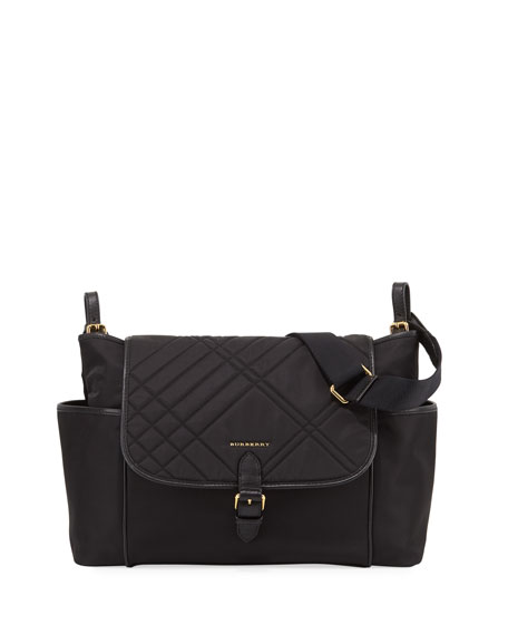 Burberry Flap-Top Quilted Diaper Bag
