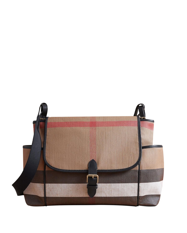 Burberry Flap-Top Check Canvas Diaper Bag  ad13aa0104b88