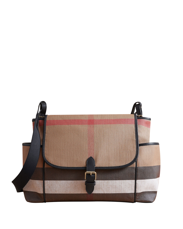 0be10af0fea0 Burberry Flap-Top Check Canvas Diaper Bag