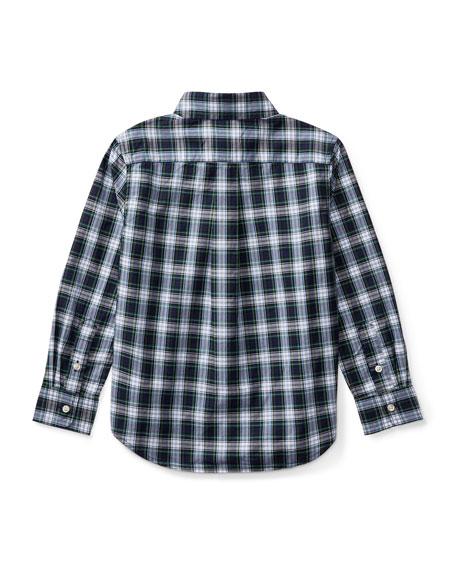 Poplin Plaid Button-Down Shirt, White Pattern, Size 5-7