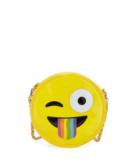 Iscream Girls' Rainbow Tongue Crazy Face Emoji Crossbody