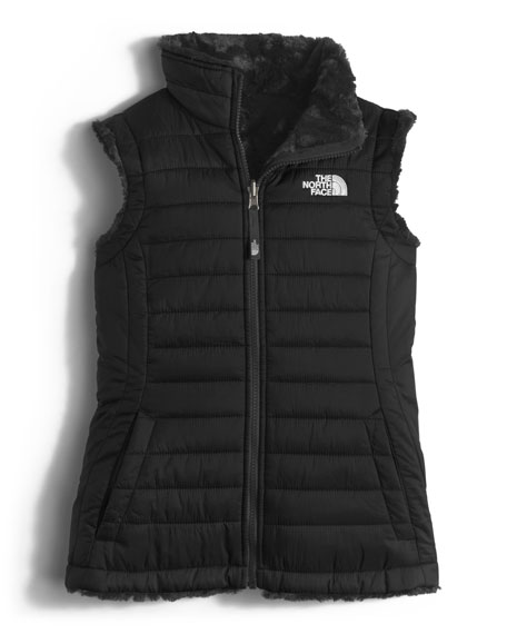 Girls' Reversible Mossbud Vest, Black, Size XXS-XL
