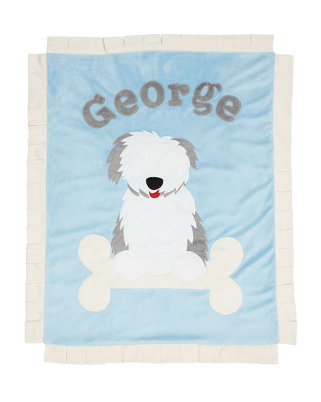 Personalized Puppy Love Plush Blanket, Blue