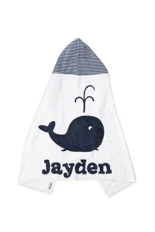 Boogie Baby Personalized Whale Hooded Towel, White
