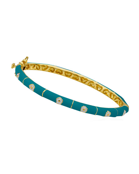 LMTS Girls' Flower Enamel Hinged Bangle, Turquoise
