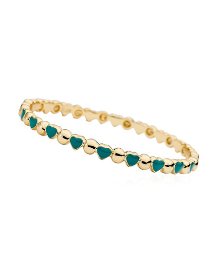 Girls' Heart 14k Gold Plated Brass Bangle, Turquoise