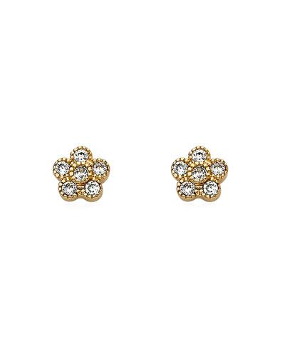 Girls' Flower Stud Earrings, Gold