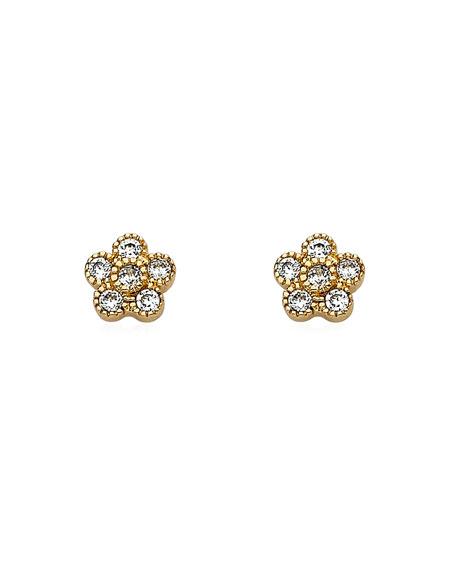 LMTS Girls' Flower Stud Earrings, Gold