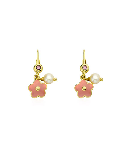 Girls' Hanging Flower Earrings, Pink