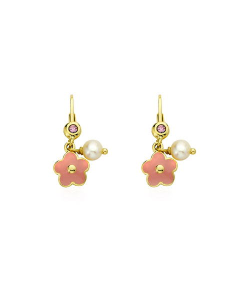 LMTS Girls' Hanging Flower Earrings, Pink