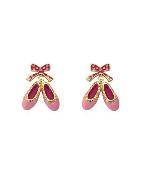 LMTS Girls' Enamel Hanging Ballet Slipper Earrings, Pink
