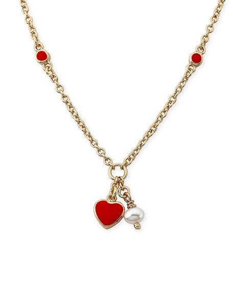 LMTS Girls' Heart Pendant Necklace, Red