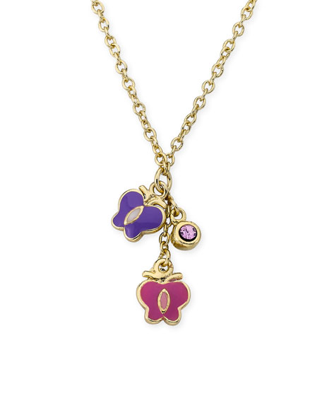 LMTS Girls' Hanging Butterflies & Crystal Necklace, Multi