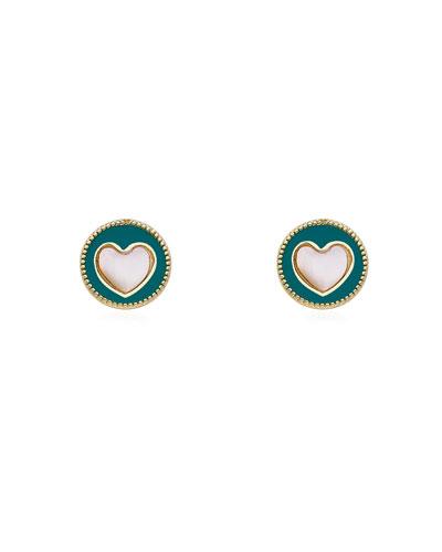Girls' Enamel Heart Stud Earrings, Turquoise