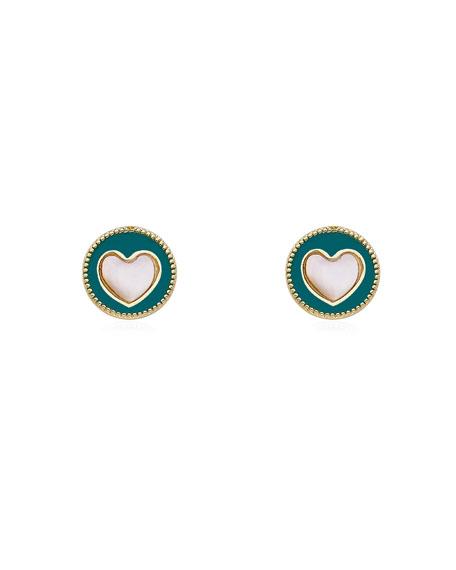 LMTS Girls' Enamel Heart Stud Earrings, Turquoise