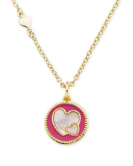 Girls' Heart Pendant Necklace, Hot Pink