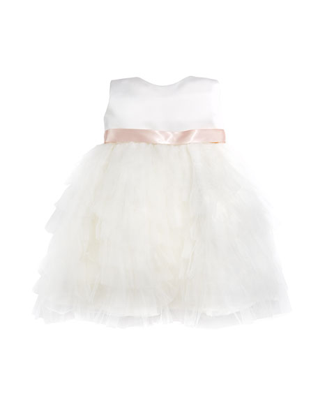 Joan Calabrese Tiered Ruffle Dress, Ivory/Blush, Size 6-24