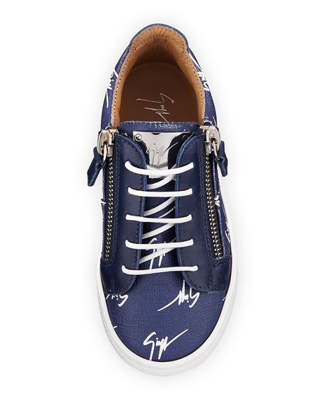 Logo-Print Leather Low-Top Sneakers, Toddler Sizes 6M-9T