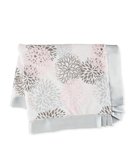 Blooms Plush Receiving Blanket, Pink