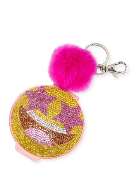 Girls' Crystal Star-Eyed Smiley Face Mirror Key Chain w/ Fur Pompom