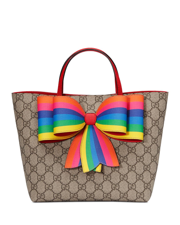 43ae4ebeee40 Gucci GG Supreme Canvas Tote Bag w/ Rainbow Bow | Neiman Marcus